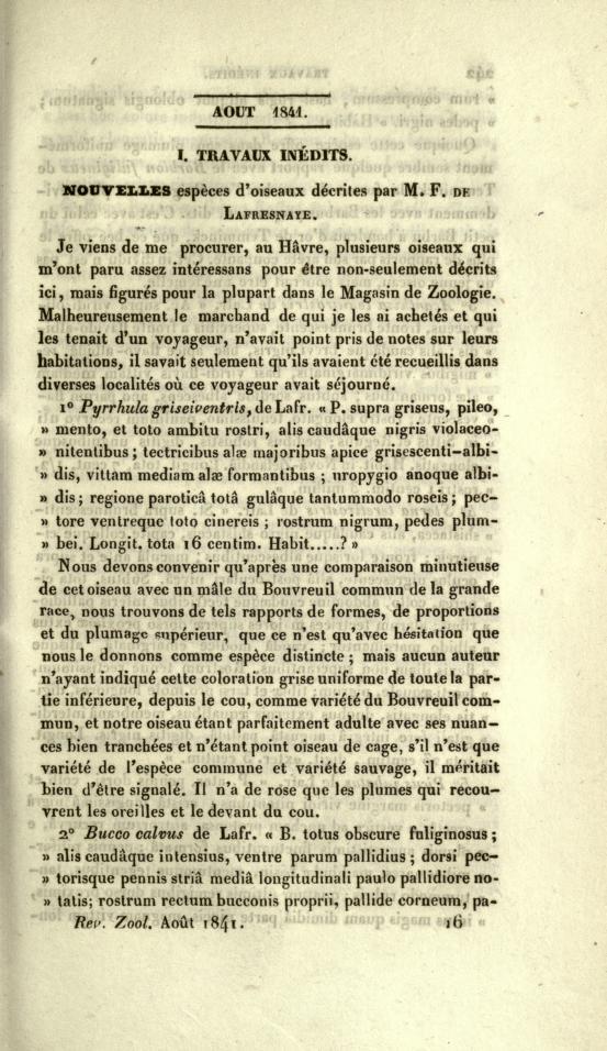 Nouvelles Especes d'Oiseaux Decrites par M. F. de Lafresnaye