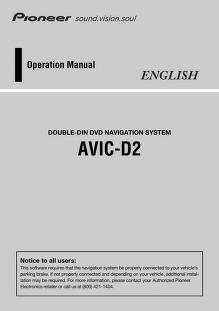 pioneer - gps - AVIC D2 - Operation Manual : Free Download, Borrow ...